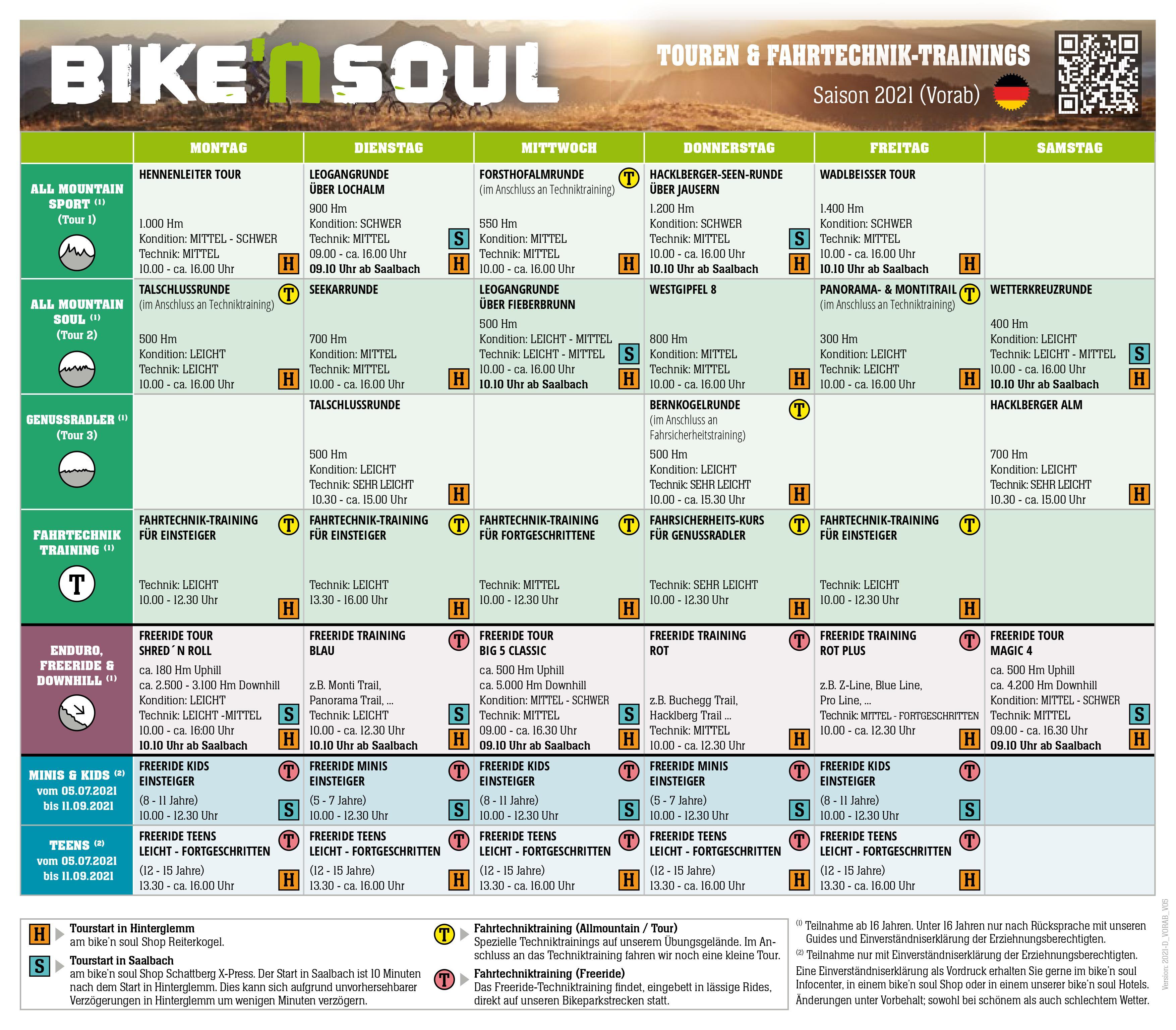 Bike Soul Wochenprogramm der Touren 2020