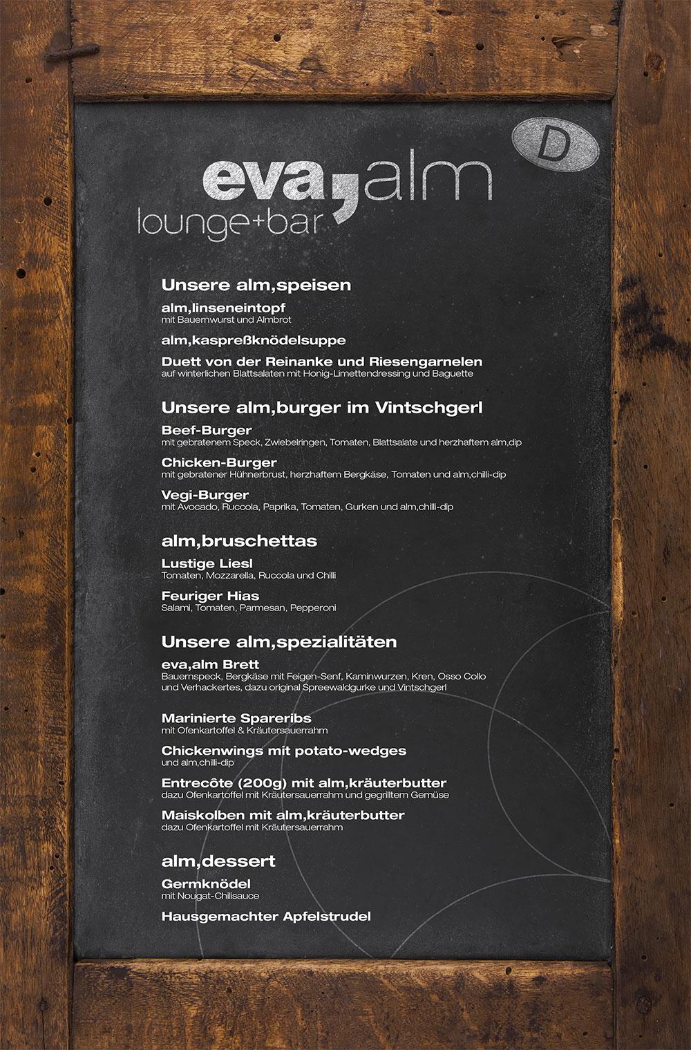 Speisekarte & Getränkekarte in der Eva Alm - eva, Hotels