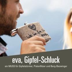 eva, Gipfel-Schluck - 19,00 € Flachmann aus Edelstahl mit Filz-Einband