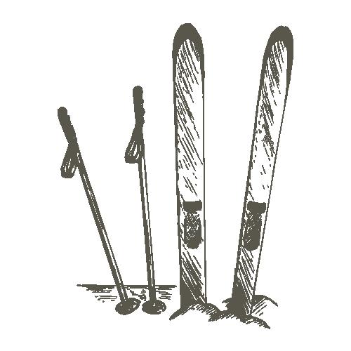Ski-Set steckt im Schnee